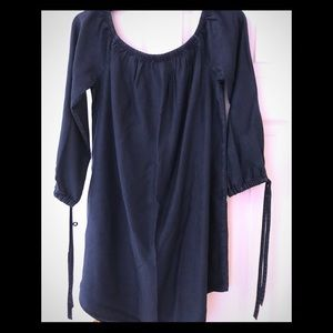 Express Denim dress with 3/4 length tie sleeves.